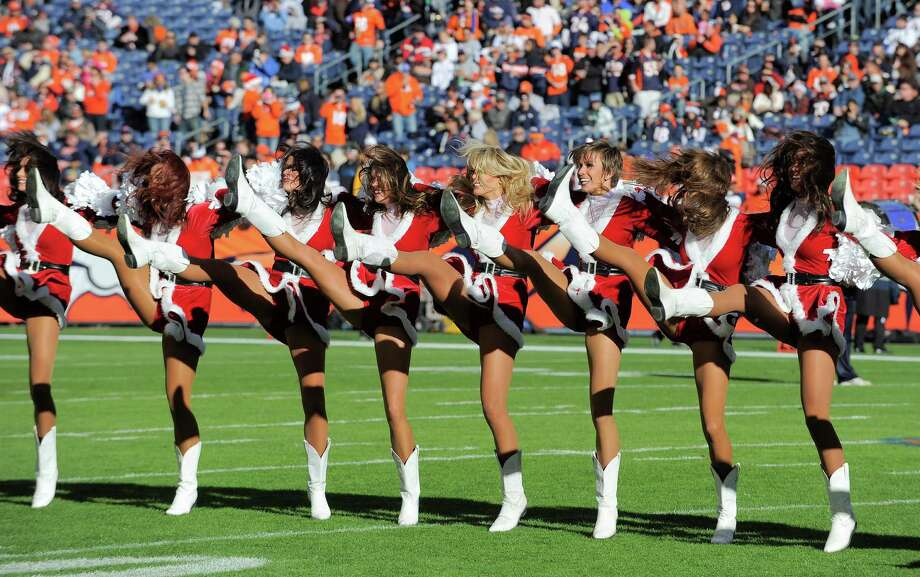 Denver Broncos cheerleaders perform. Photo: AP