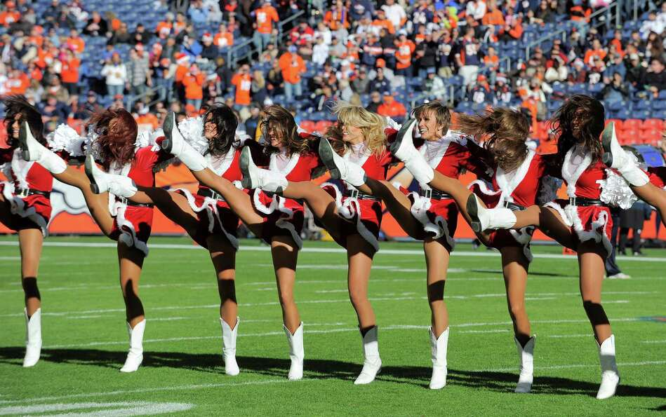 Denver Broncos cheerleaders perform.