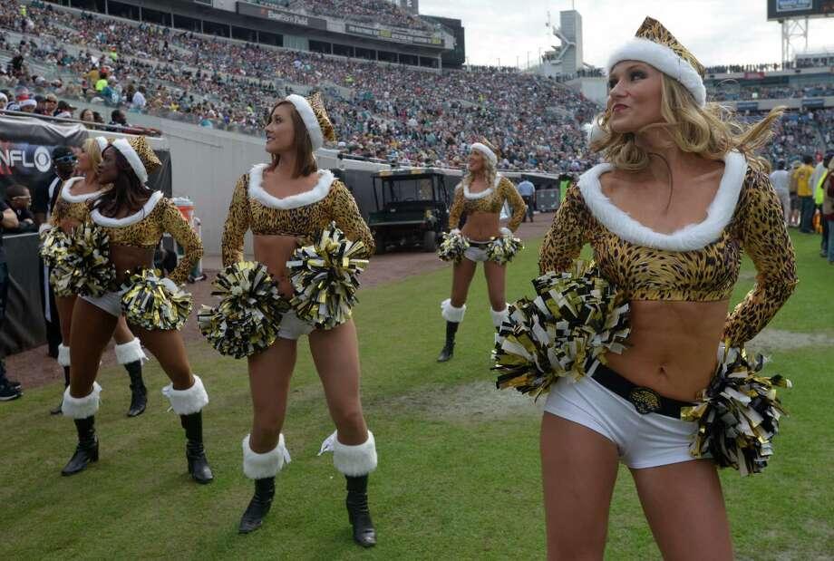 The Jacksonville Jaguars cheerleaders perform. Photo: AP