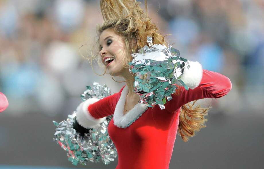 A Carolina Panthers cheerleader performs. Photo: AP