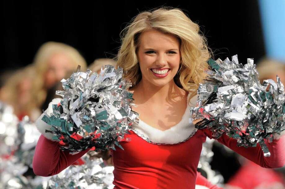 A Carolina Panthers cheerleader performs. Photo: AP