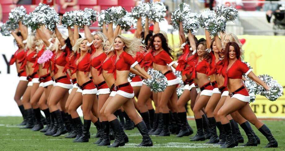 The Tampa Bay Buccaneers cheerleaders perform. Photo: AP