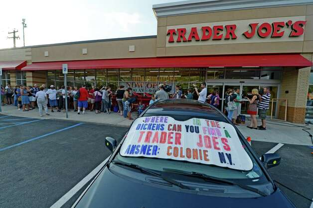 Patrons wait to get in to the new Trader Joe's that opened in August 2012 on Wolf Road in Colonie, N.Y.(Skip Dickstein/Times Union) Photo: Skip Dickstein / 00018677A