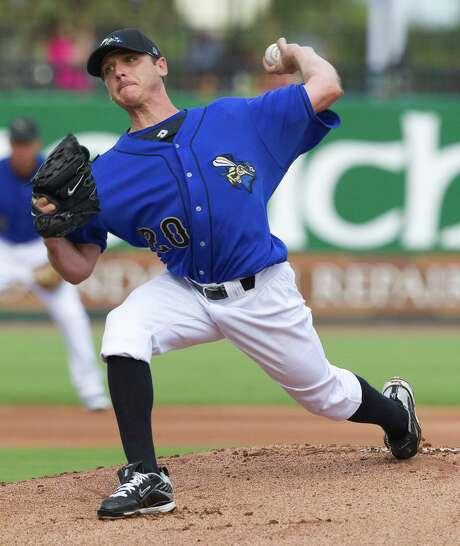 After falling from World Series Game 1 starter in 2008 to pitching for the Sugar Land Skeeters last summer, Scott Kazmir gets another shot in Cleveland. Photo: Bob Levey, Photographer / ©2012 Bob Levey