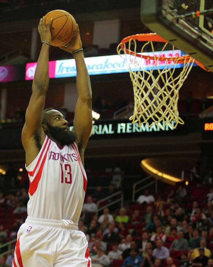 As guard James Harden demonstrates, all the fast breaks in the world are useless without a good finish. Photo: Billy Smith II, Staff / © 2013 Houston Chronicle