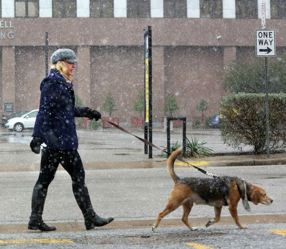 Kamela Kolander walks her dog Tracker as the snow falls on Christmas Day in downtown Dallas.  Photo: Gary Barber, Associated Press / The Dallas Morning News