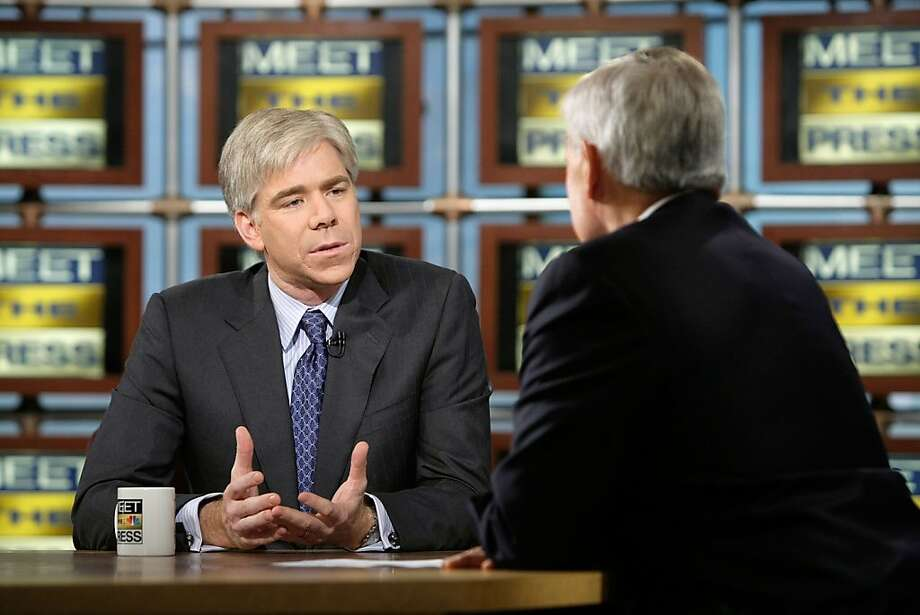 "David Gregory, left, is interviewed by interim moderator Tom Brokaw during a taping of ""Meet the Press"" at the NBC studios December 7, 2008 in Washington, DC.  Photo: Alex Wong, Getty Images For Meet The Press"