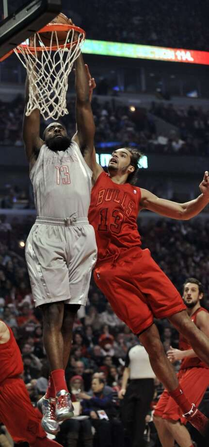 Dec. 25: Rockets 120, Bulls 97James Harden throws down two of his team-high 26 points in the Christmas Night victory in Chicago. (Paul Beaty / Associated Press)