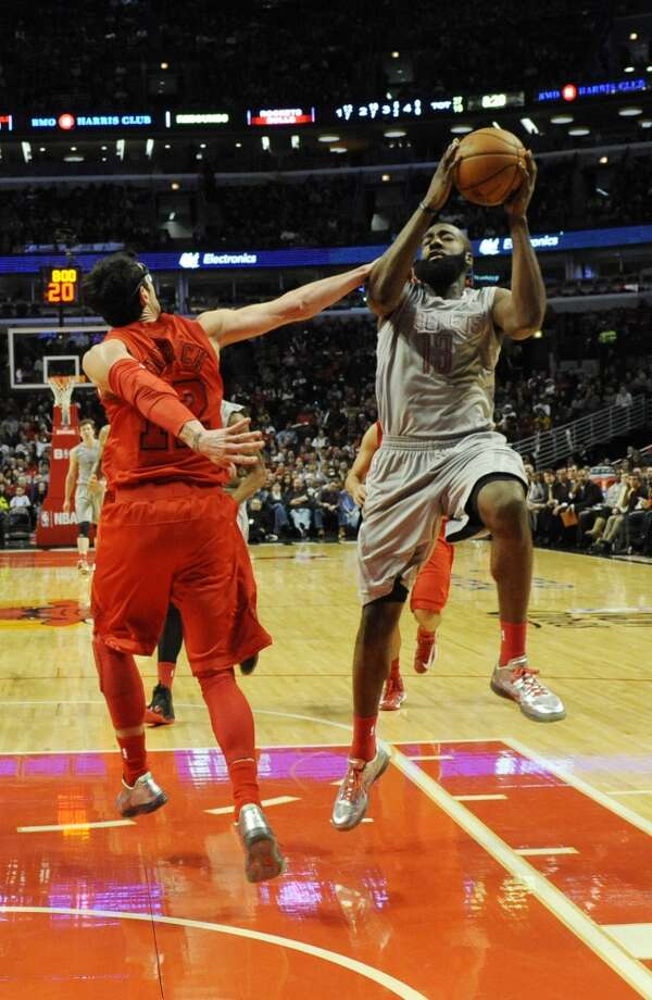 James Harden flies to the basket. (David Banks / Getty Images)