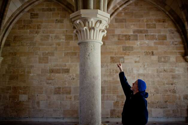 "The New Clairvaux Abbot Paul Mark Schwan points out 800-year-old-stones used to build their ""chapter house"" in Vina, Calif.. Photo: Max Whittaker/Prime, Special To The Chronicle"