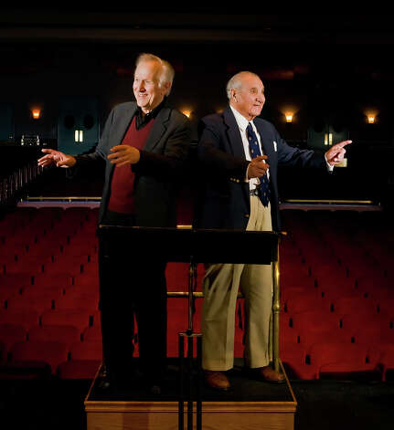 Gustav Meier, left, the conductor of the Greater Bridgeport Symphony for over 36 seasons, and his best friend, Robert S. Tellalian, right, long-time chairman of the Board of the Greater Bridgeport Symphony at the Klein Memorial Auditorium in Bridgeport, Conn. on Thursday, March 12, 2009. Tellalian died on Christmas Day, Dec. 25, 2012. Photo: Jesse Nieder, Connecticut Post File Photo / Connecticut Post File Photo