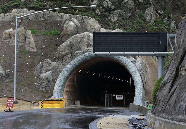An electronic message board is installed for northbound traffic of the Devil's Slide Tunnel in Pacifica, Calif. on Friday, Dec. 21, 2012. Caltrans plans to open the twin bores early next year. Photo: Paul Chinn, The Chronicle