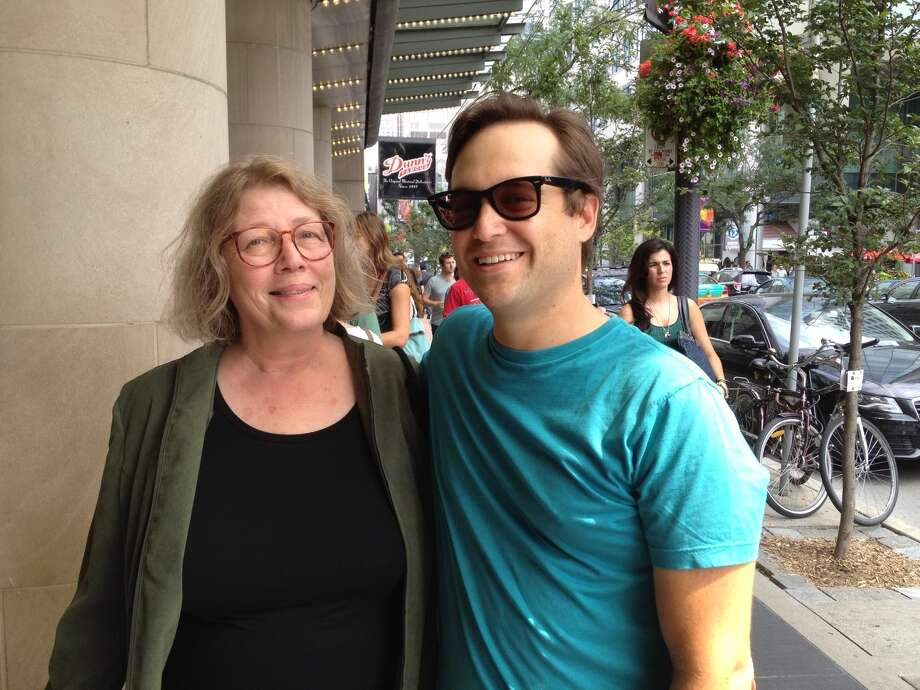 """Photo by Paul Grondahl Elizabeth Bell, of Albany, left, with her son, Ben Coccio, a 1993 Niskayuna High School graduate and screenwriter of """"The Place Beyond the Pines,"""" at its premiere in Toronto in September."""