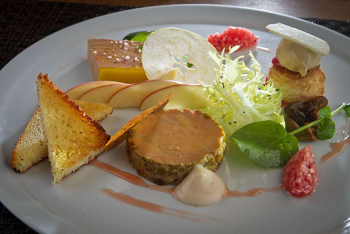 The selling of foie gras was outlawed in California earlier this year, but not before restaurants, including Redd in Yountville, offered a variety of foie gras tastings and dinners. Photographer's caption: A tasting of Foie Gras at Redd Restaurant in Yountville, Calif., is seen on Friday, March 9th, 2012.