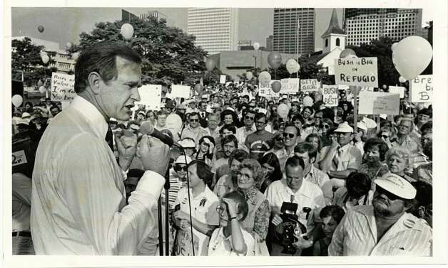 Republican presidential candidate George Bush addresses supporters at rally in Sam Houston Park near downtown in 1979. Photo: Timothy Bullard, Houston Chronicle / Houston Chronicle