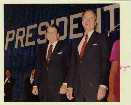 09/22/1988 - Pres. Ronald Reagan and Vice Pres. George Bush at the Brown Convention Center at Republican Victory '88 fund-raiser for Bush's campaign for US presidency. Ira Strickstein / Houston Post Photo: Ira Strickstein, Houston Chronicle / Houston Post files