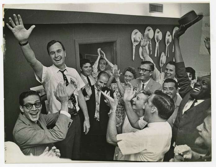 PHOTO FILED: GEORGE HW BUSH-GROUP.  06/07/1964 - Republican Senatorial candidate George Bush and his