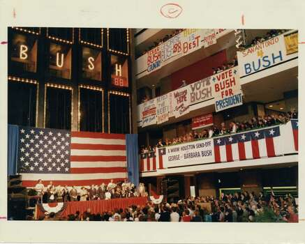 "10/12/1987 - Vice President George HW Bush officially launched his 1988 presidential campaign in the main ballroom of the Hyatt Regency Hotel. The announcement party moved from the ballroom to the hotel's massive lobby where the elevators were decorated with lights spelling out ""Bush 88.""   Mary Urech Roberts / Houston Chronicle Photo: MARY URECH ROBERTS, Houston Chronicle / Houston Post files"