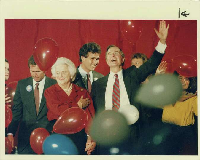 11/07/1988 - Barbara Bush and her husband, Republican presidential candidate George Bush, respond to