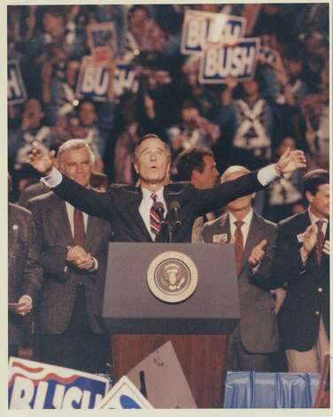 11/2/1992 - President George Bush greets supporters at his final campaign rally Monday night at the Astroarena in Houston.  Photo: Gaylon Wampler, Houston Chronicle / Houston Post files