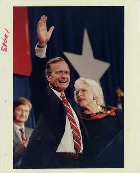"11/08/1988 - President-elect George Bush waves to the crowd at convention center following his victory speech. ""I mean to be a president of all the people, "" he told supporters at the George R. Brown Convention Center in downtown Houston. Ira Strickstein / Houston Post Photo: Ira Strickstein, Houston Chronicle / Houston Post files"