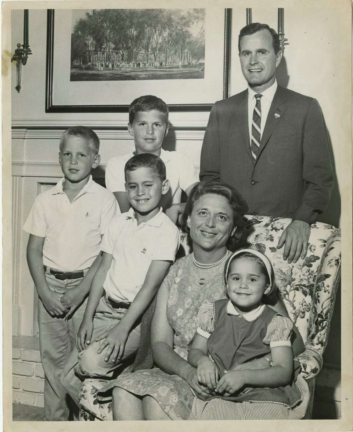 Then-U.S. Senate candidate George Bush posed for a family photo in 1964 with three of his sons, from left, Neil, Jeb and Marvin (seated); his wife, Barbara, and daughter, Dorothy. Bush's eldest son George is not in the photo. Dave Farmer / Houston Post