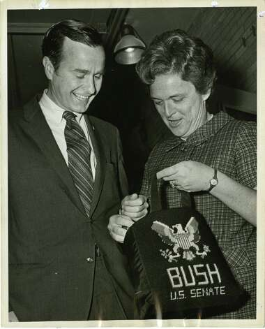 05/02/1970 - U.S. Senate candidate George Bush and his wife, Barbara, rummage in her bag at their voting precinct in the Texas Republican Primary election. Ray Covey / Houston Post Photo: Ray Covey, Houston Chronicle / Houston Post files
