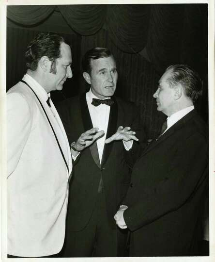 05/20/1970 - (L-R) Professor Nicolai Blokhin of Moscow, U.S. Rep. George Bush and Dr. Emil Freireich