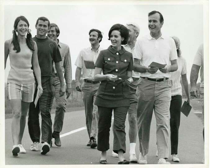 05/30/1970 - George W. Bush (2nd from left) and his father, U.S. Rep. George HW Bush (far right, whi