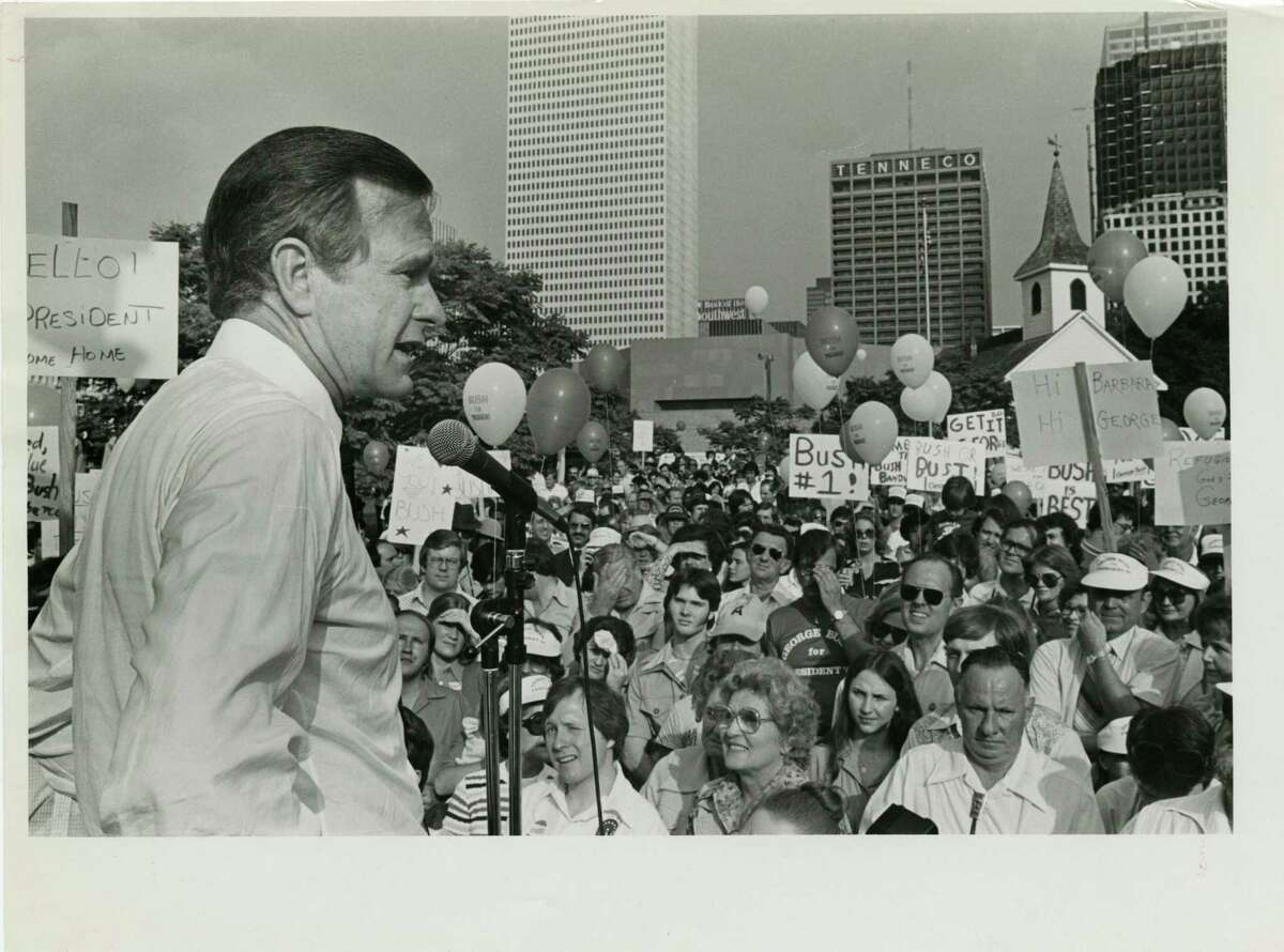 05/06/1979 - George Bush, candidate for the Republican nomination for president, addresses supporters at rally in Sam Houston Park at the start of his Texas campaign tour.