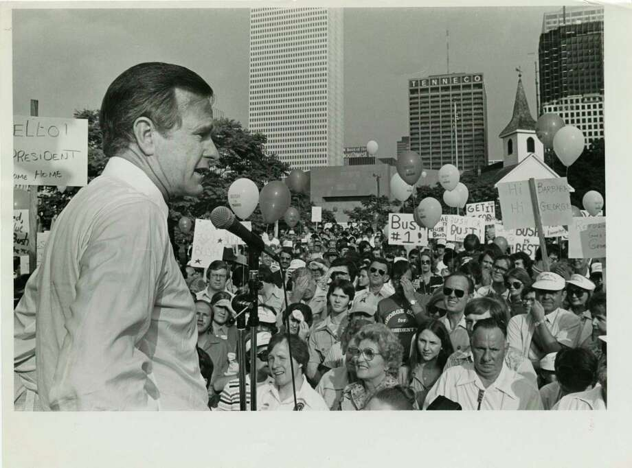 05/06/1979 - George Bush, candidate for the Republican nomination for president, addresses supporters at rally in Sam Houston Park  at the start of his Texas campaign tour. Photo: Joel Draut, Houston Chronicle / Houston Post files