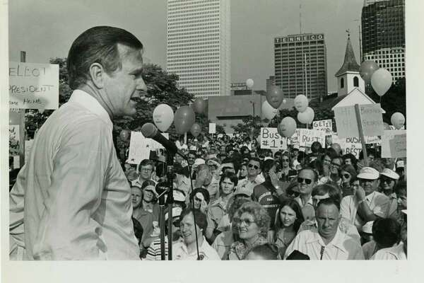 05/06/1979 - George Bush, candidate for the Republican nomination for president, addresses supporters at rally in Sam Houston Park at the start of his Texas campaign tour. Joel Draut / Houston Post