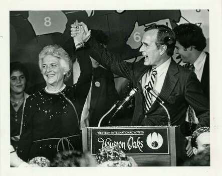 11/04/1980 - (L-R) Barbara Bush and husband, George Herbert Walker Bush, celebrate his election as the next Vice President of the United States at the Houston Oaks Hotel in Houston. The Bushes gathered with familly and supporters at the hotel to await the 1980 presidential election results. Bill Thompson / Houston Post  HPOST CAPTION (11/05/1980): Bush, wife Barbara celebrate victory at Houston Oaks Hotel Photo: Bill Thompson, Houston Chronicle / Houston Post files
