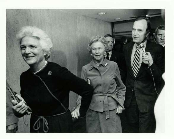 11/04/1980 - (L-R) Barbara Bush leads her mother-in-law, Dorothy Walker Bush, and husband, GOP Vice Presidential candidate George Herbert Walker Bush. through a hallway at the Houston Oaks Hotel in Houston. The Bushes gathered with familly and supporters at the hotel to await the 1980 presidential election results. By the end of the evening family and supporters celebrated his election as the next Vice President of the United States. Jerry Click / Houston Post Photo: Jerry Click, Houston Chronicle / Houston Post files