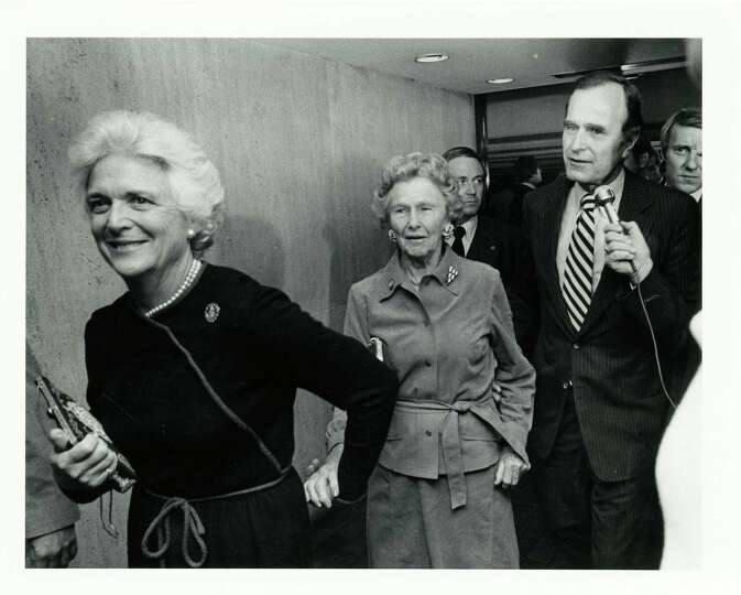 11/04/1980 - (L-R) Barbara Bush leads her mother-in-law, Dorothy Walker Bush, and husband, GOP Vice