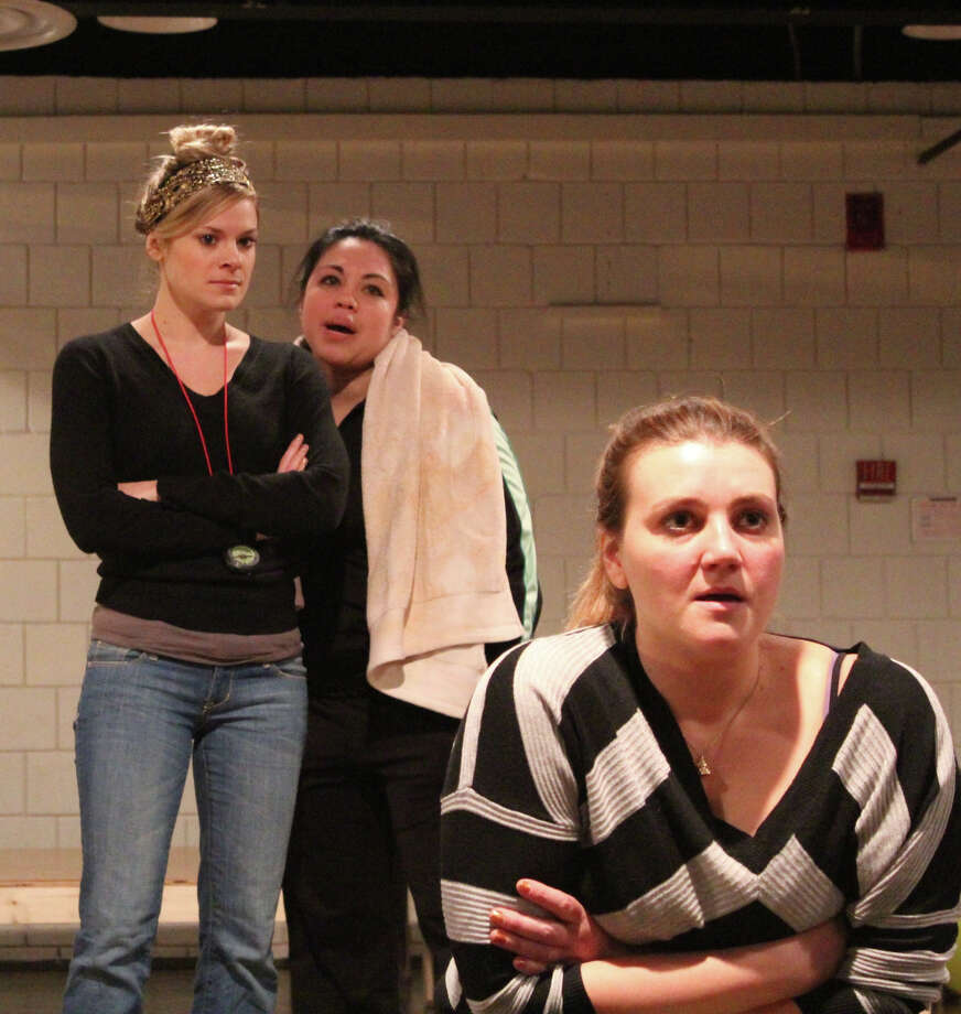 "Tonya Glanz, Maria-Christina Oliveras and Meredith Holzman (left to right) rehearse a scene from ""January Joiner,"" the new ""horror comedy"" at Long Wharf Theatre, starting Jan. 9. Photo: Contributed Photo"