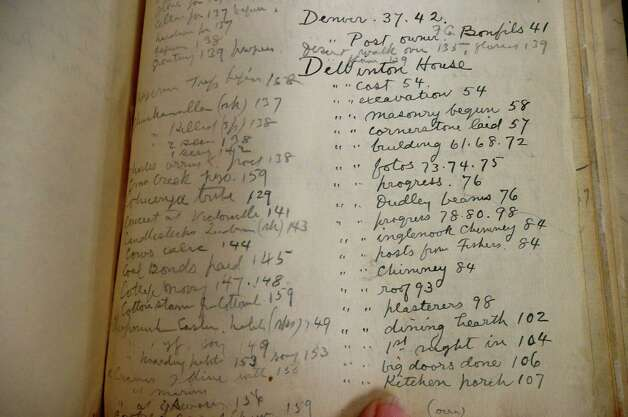 Seton added a detailed index to each journal.  This index denotes the progress of the building of his second home, DeWinton, on Lake Avenue. Photo: Anne W. Semmes