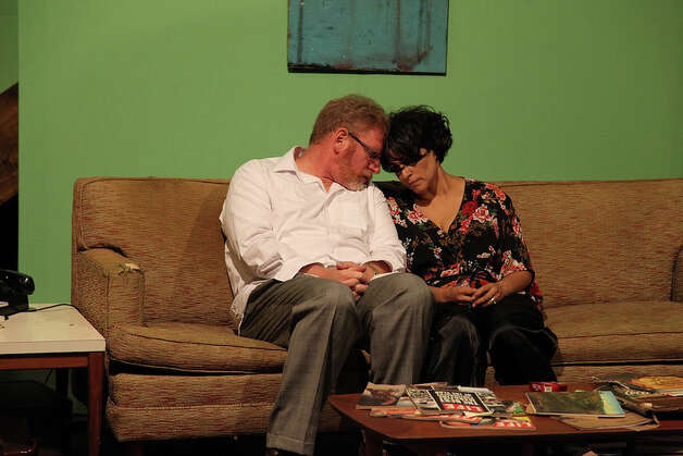"David Connelly (from left) and Gloria Sanchez-Molina star in AtticRep's ""Who's Afraid of Virginia Woolf?"" Courtesy Jonathan Moore Photo: Courtesy Jonathan Moore"