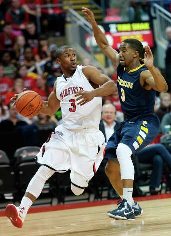 Fairfield University's Derek Needham drives towards the basket in a men's basketball game against Canisius College played at Webster Bank Arena, Bridgeport CT on Friday December 7th, 2012. Photo: Mark Conrad / Connecticut Post Freelance