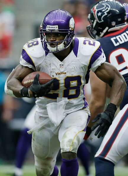Running back Adrian Peterson of the Vikings was named to the NFC squad a year after undergoing major