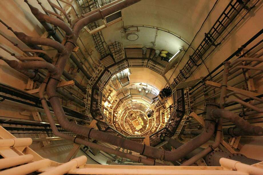 A view looking down into one of four circular steel columns 85 feet in diameter, 177 feet high, on the Shell Ursa TLP (tension leg platform) located in the Mississippi Canyon block 809 in the Gulf of Mexico. Photo: James Nielsen, Staff / © Houston Chronicle 2012