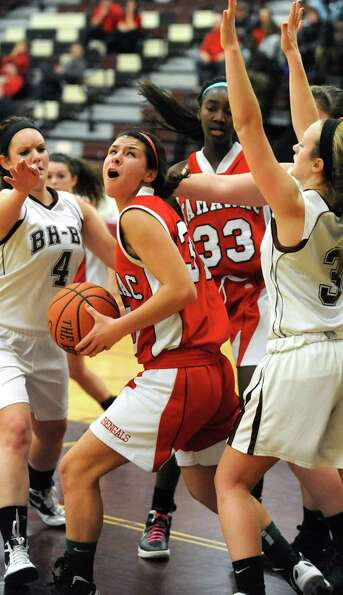 Tamarac's Briana Matazinsky looks for the hoop during a basketball game against Burnt Hills on Wedne
