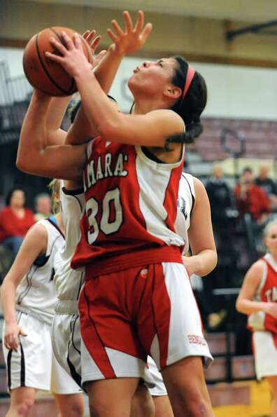 Tamarac's Briana Matazinsky drives to the hoop during a basketball game against Burnt Hills on Wedne
