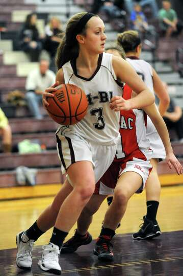 Burnt Hills' Molly Gallagher gets the rebound during a basketball game against Tamarac on Wednesday