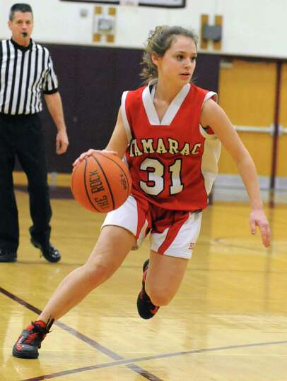 Tamarac's Makenzie Flaherty dribbles the ball during a basketball game against Burnt Hills on Wednes