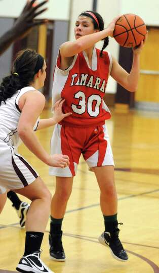 Tamarac's Briana Matazinsky looks for an open teammate during a basketball game against Burnt Hills