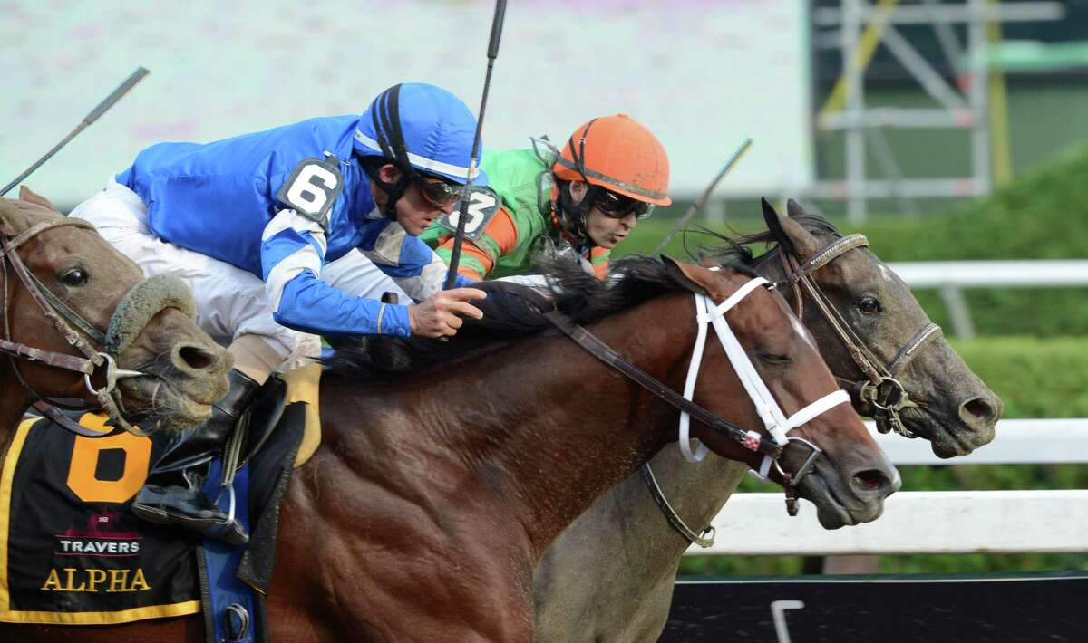 Alpha with jockey Ramon Dominguez, left dead heats with Golden Ticket with jockey David Cohen, right for the win in the 143rd running of The Travers Stakes at the Saratoga Race Course in Saratoga Springs, N.Y. Aug. 25, 2012. (Skip Dickstein/Times Union)
