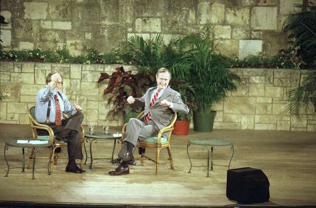 President George H. Bush talks with Larry King during King's show at the Arneson River Theater in San Antonio, Oct. 8, 1992. According to Larry King, this is the first time since the Carter presidency that a sitting president has participated in a live call-in program. Photo: Pat Sullivan, Associated Press File Photo / AP1992