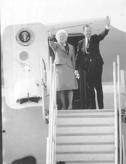President George H.W. Bush and wife Barbara board Air Force One at San Antonio International Airport