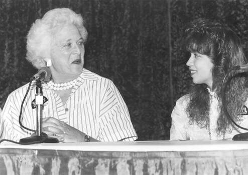 Second Lady Barbara Bush is interviewed by Burbank student Lina Mires, a member of the San Antonio Youth Literacy Council, on July 12, 1988 at the Mexican American UNITY Council on W. Commerce. Photo: San Antonio Express-News File Photo